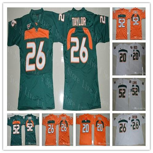 Pas cher Miami Hurricanes Ncaa College Football Jersey 26 Sean Taylor 52 Ray Lewis R.Lewis 20 Ed Reed Shirts Green Good Blanc Orange