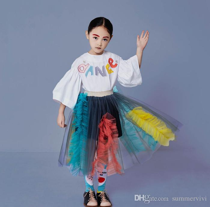Girls colorful letter embroidery flare sleeve T-shirt kids splicing lace falbala princess skirt spring children lace tulle tutu skirt F5085