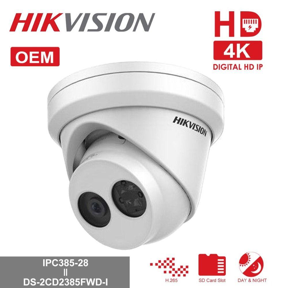 Hikvision OEM POE IP Camera IPC385-28 = DS-2CD2385FWD-I 8MP Network CCTV  Camera H 265 CCTV Security POE WDR SD Card Slot