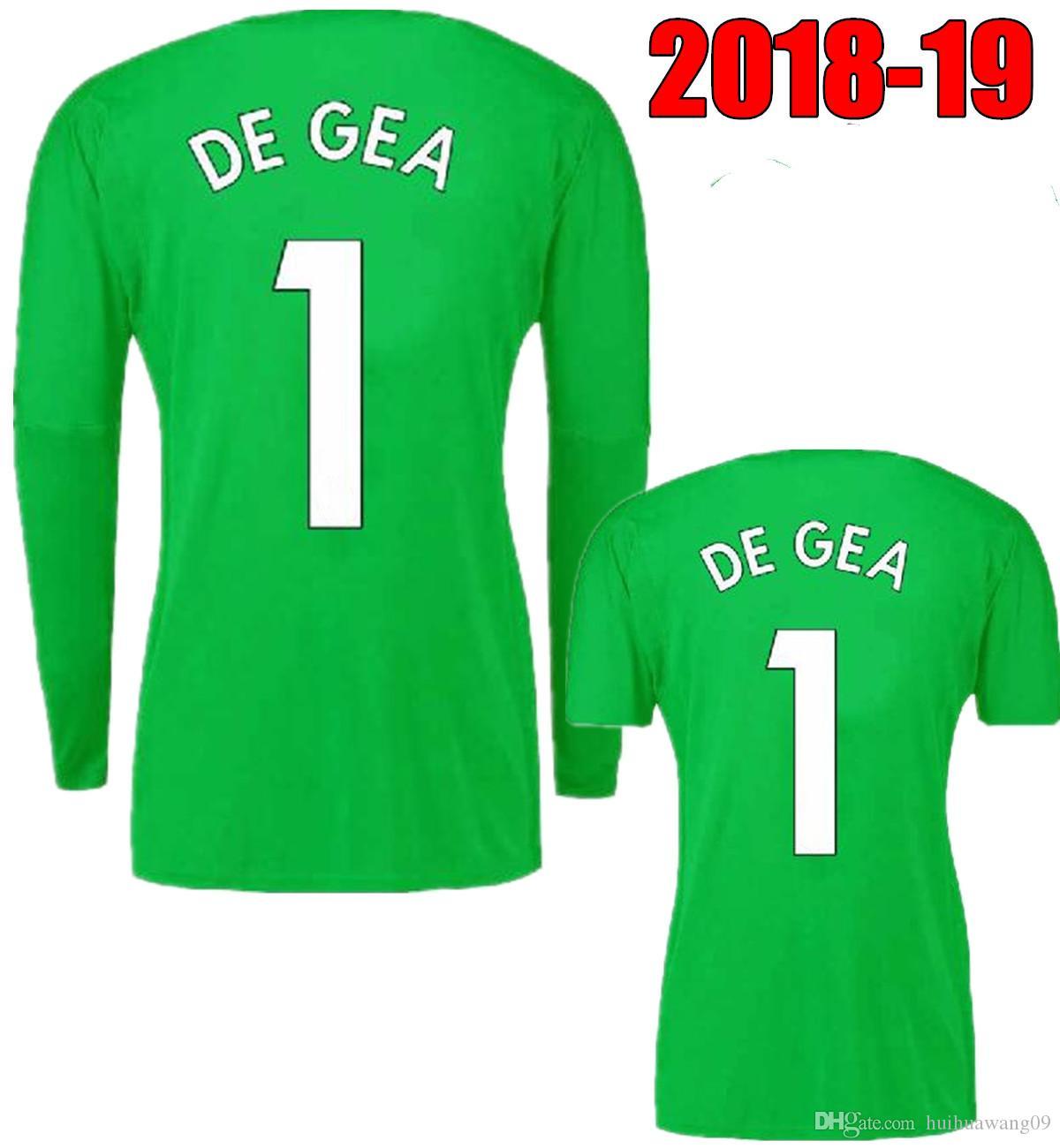 save off 89ec5 1c00a 2018-19 Thai Men Long Sleeve #1 De Gea Goalkeeper Jersey Green Soccer  Jerseys David De Gea Romero United Full Short Sleeve Football Shirts