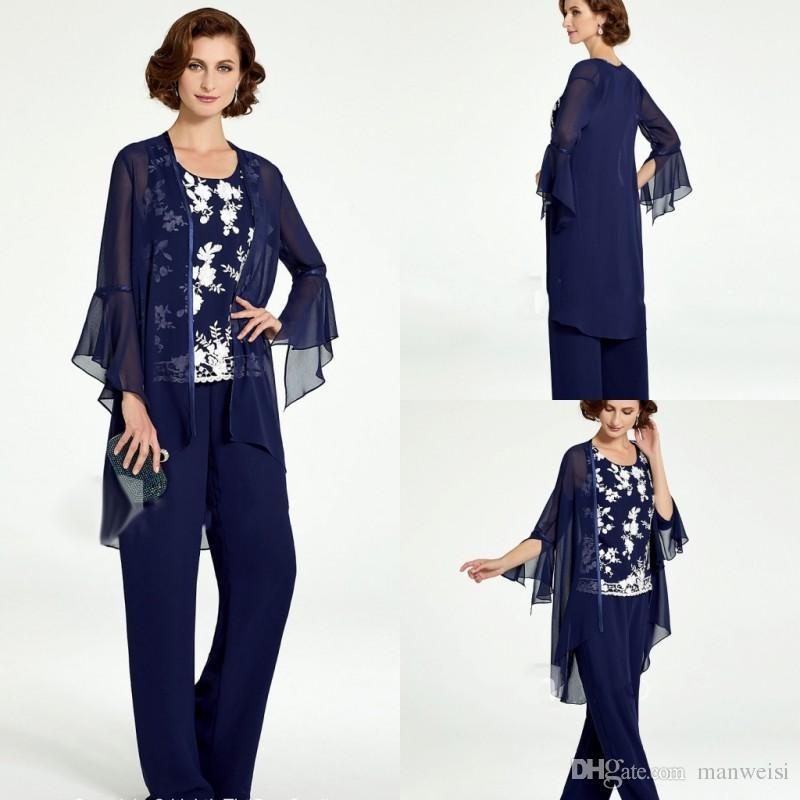 Grosshandel Royal Blue Pant Anzuge Lange Brautmutter Kleider Gunstige