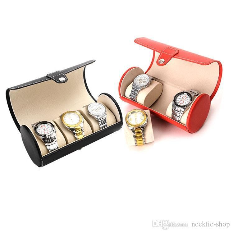 New PU cortex 3 position Round watch box hand chain box jewelry counter display boxs