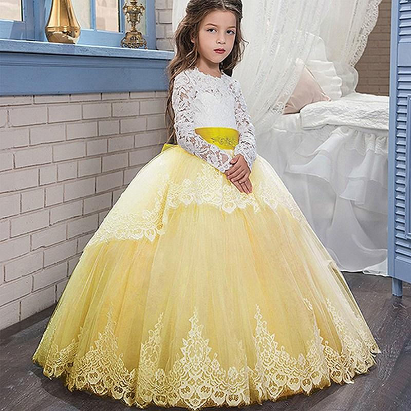 Yellow Long Sleeve Princess Gown Lace 2018 Flower Girl Dresses For