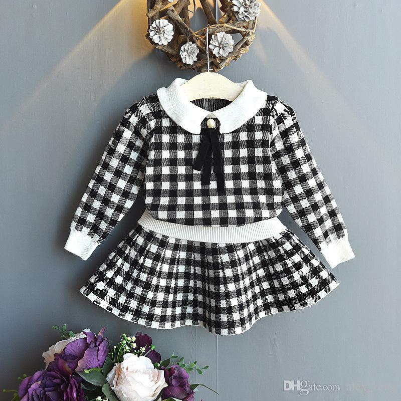 New Baby Girls Sweater Set 2019 New Fashion Autumn Winter Girls Outfits Kids Plaid Knit Top +skirts 2pcs Sets Clothing 2 Colors