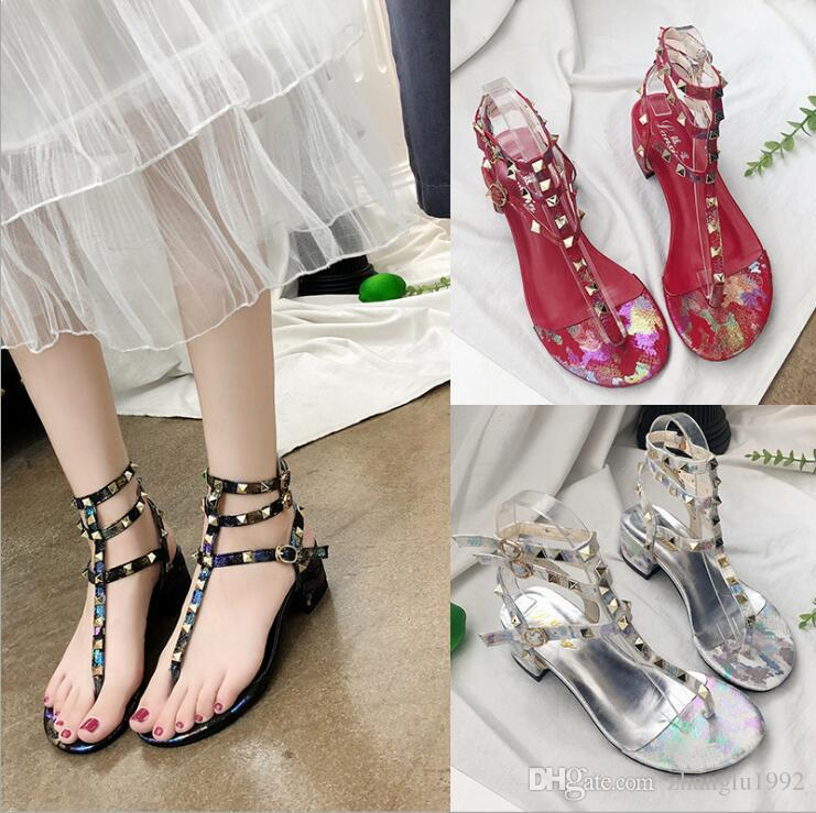 0b9457c85f7c Sandals Girls Pinch Rivet Summer 2019 New Ribbon Medium Heel Rough Heeled  European And American Roman Fashion Girls Sandals Platform Shoes Prom Shoes  From ...
