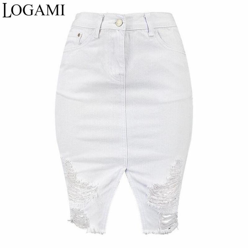 size 7 select for newest new products Logami High Waist Ripped Bodycon Denim Skirts Womens White Midi Jeans Skirt  Women Sexy Pencil Skirt Y19043002