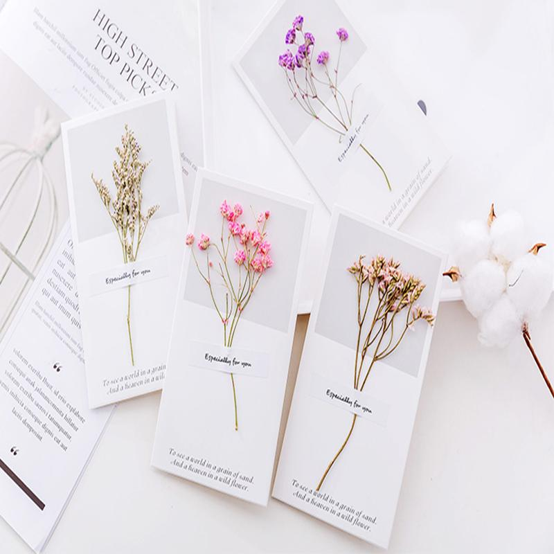 Creative Dried Flower Greeting Card diy Message Card Small Festival Birthday Blessing Fold Thank You Home Supplies