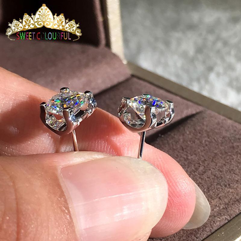 68fd9bbf3ac3a 18K Gold 2PCS 1CT 6.5MM D Color Moissanite Earrings For Women M-0.10