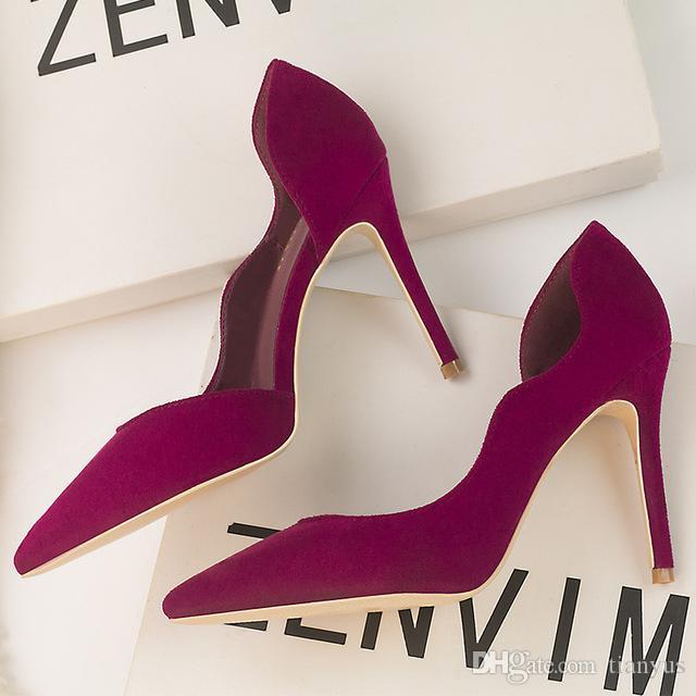d5349ea06ec Designer Women Dress Shoes Ladies Elegant Pointed Toe Suede Leather Ladies  Pumps Sexy Prom Party Wedding Shoes Q-158 Dress Shoes for Women Pumps Shoes  Women ...