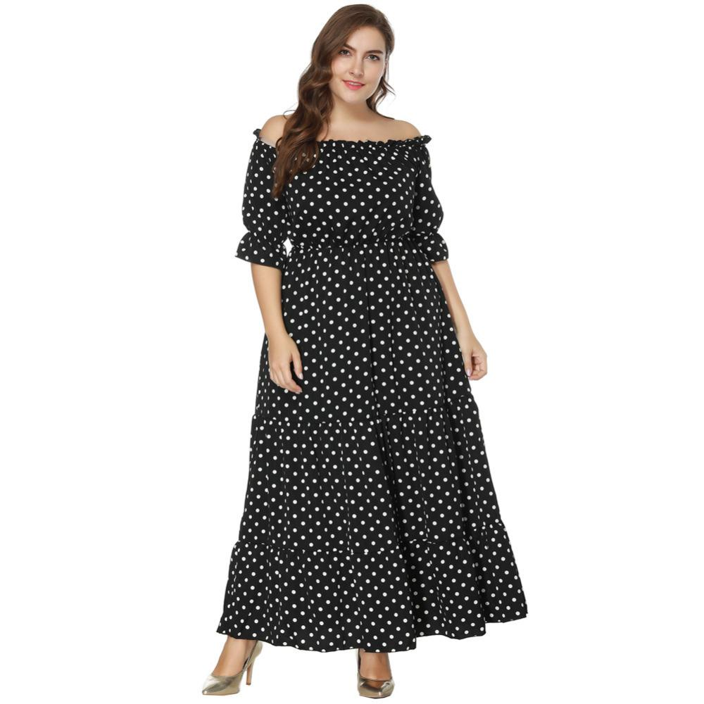 9ac492c1683 Plus Size Dress Female Off The Shoulder Big Size Dress Polka Dot Print Half  Sleeve Boho Maxi Long Formal Dresses Large Sizes Black And White Cocktail  ...