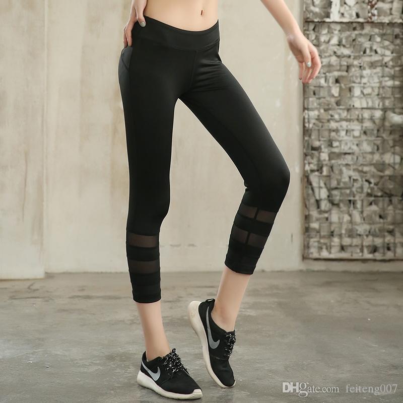 f54509eae6f8f 2019 Women Yoga Pants Cropped Fitness Sport Leggings Skinny Capris 3/4 Pant  Slim Mesh Patchwork Gym Running Trousers Jogging Jeggings #790655 From ...