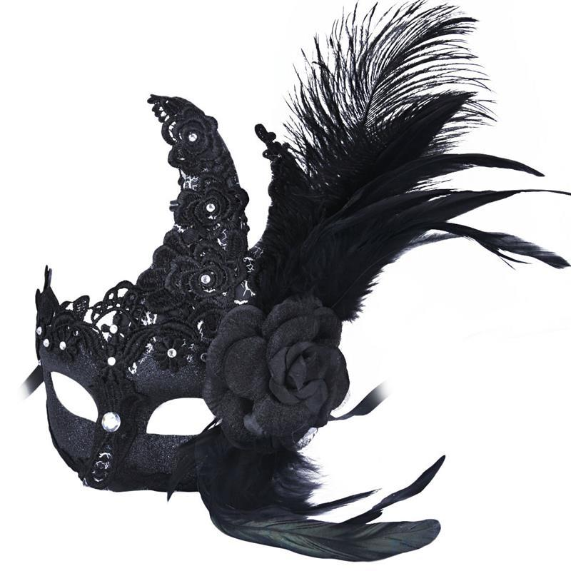 FunPa Womens Princess Mask Rhinestone Masquerade Half Face Mask Venetian Lace Cosplay Mask with Feathers Flower