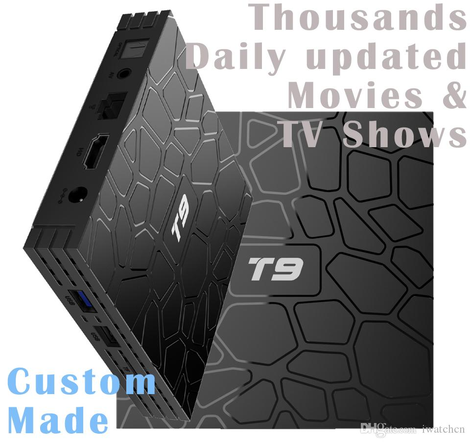 50pcs T9 Custom Made Rockchip RK3328 Quad core 4K Smart Android8 1 TV  Streaming Box 4GB 32GB/64GB Thousands daily updated movies & tv shows