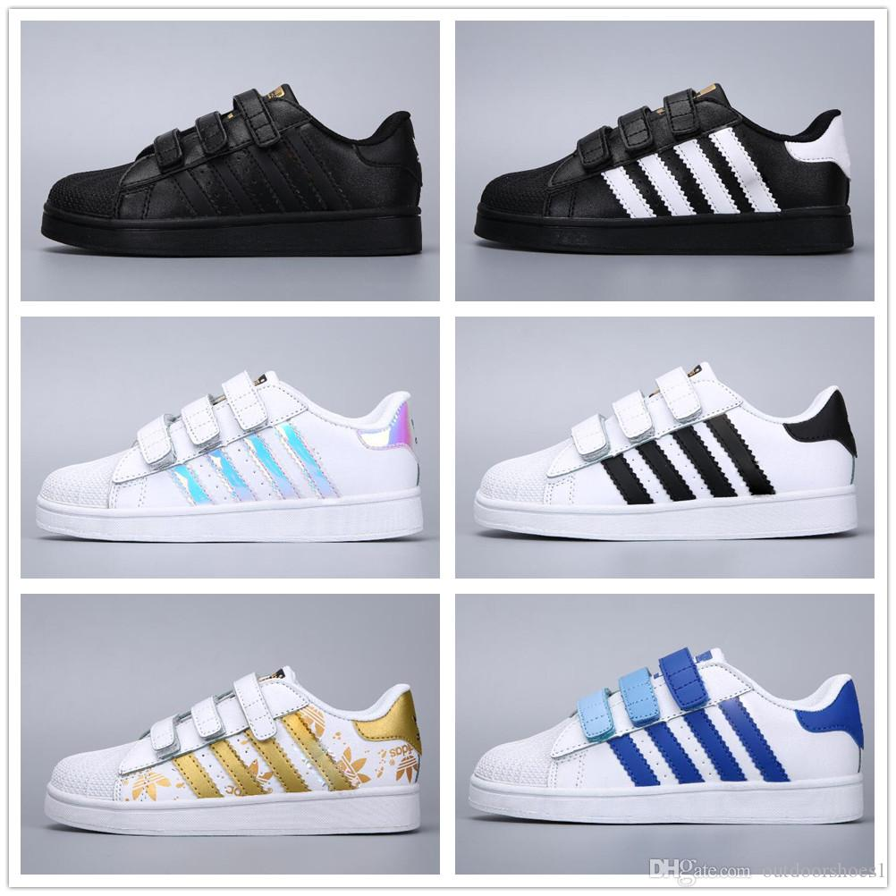 Chaussures Adidas Super Stan Star Smith Stansmith Bébé Filles Enfants Original Baskets Originals Superstar Superstars Blanc 2018 Or Garçons OiTZkXwPul
