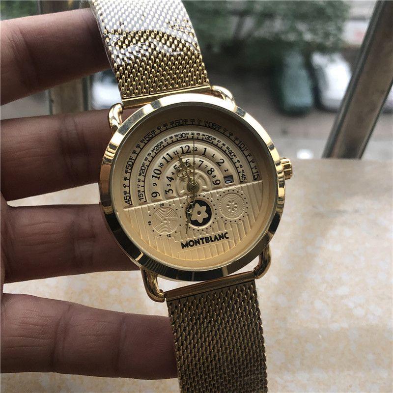 7aac2cae33c Compre Top Marca MBL Homens De Luxo Relógios Montre Homme Alta Qualty  Relógio De Quartzo Homens Big Dial Relógios Masculinos De Malha De Metal  Cinto De ...