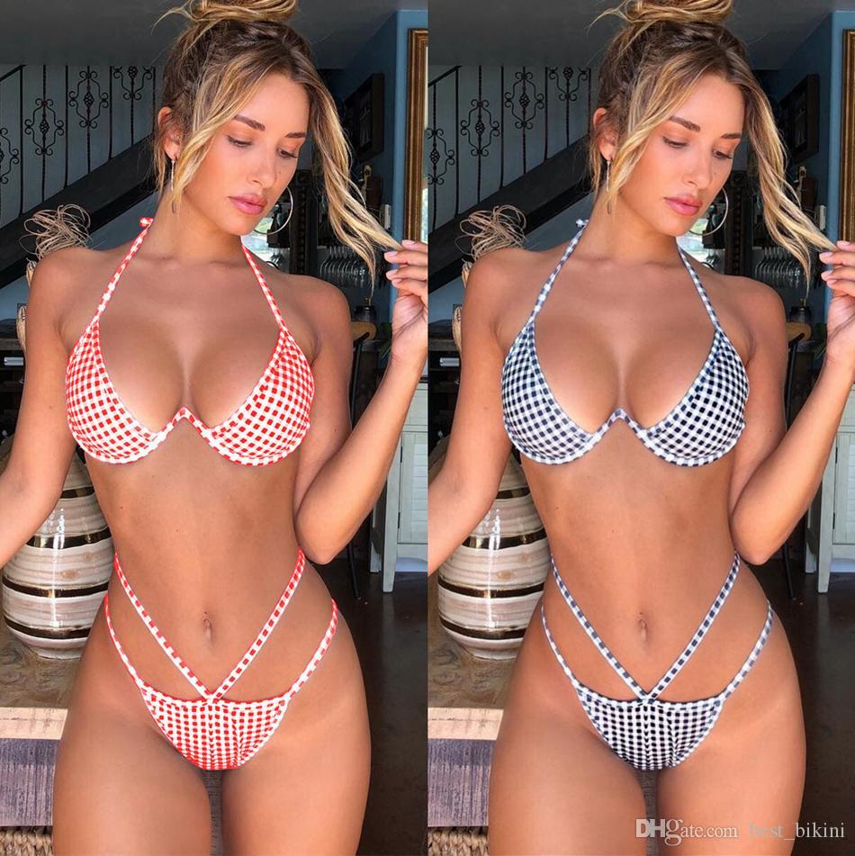 12ca7974505 2019 Women Plaid High Waist Bikini Set Push Up Padded Bra Bandage Underwear Rims  Swimsuit Sexy Swimwear PPA82 From Best bikini