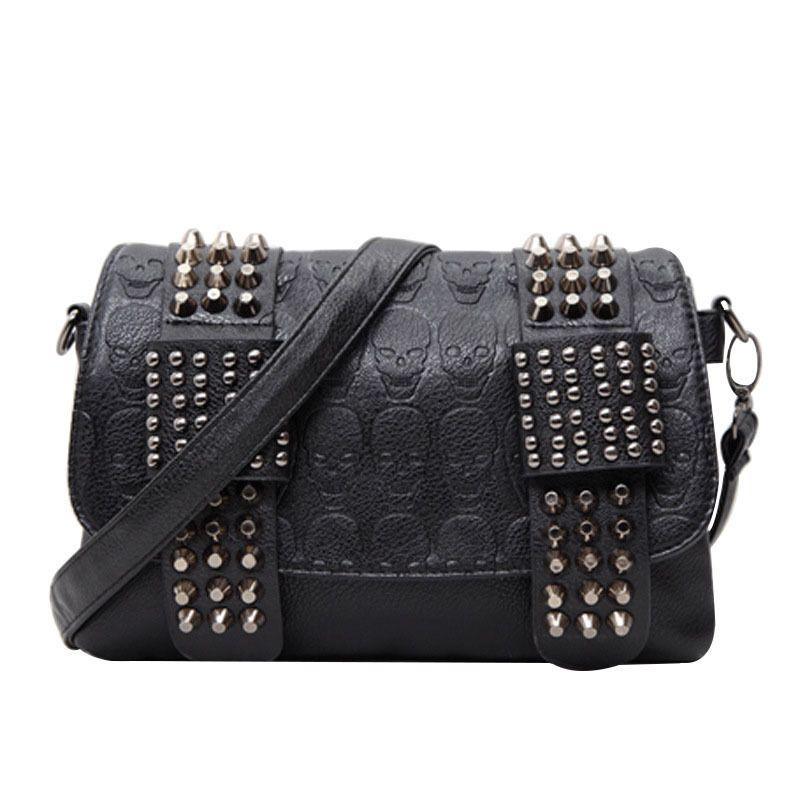 b102f25bf369 Good Quality 2019 Women Black Leather Messenger Bags Fashion Vintage  Messenger Cool Skull Rivets Shoulder Bags Sac A Main Bolsa Man Bags  Crossbody Purses ...