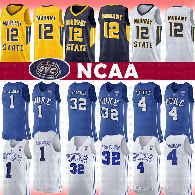 super popular d4a71 b24d3 NCAA 12 Ja Morant Jersey Murray State College J.J. 4 Redick Christian 32  Laettner 1 Zion Williamson Duke Blue Devils University Basketball