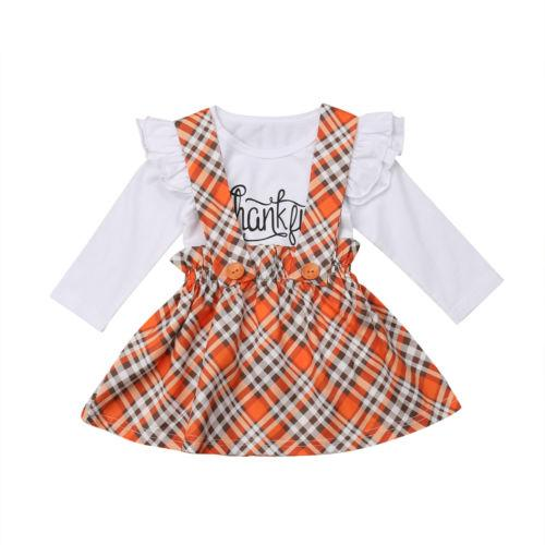 5a12003b4858b Little Girls Thanksgiving Clothes Set Newborn Kids Baby Girl Thankful  Outfit Clothing Set T-shirt Strap Bib Dress Outfits 1-5T
