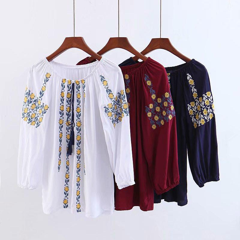 bfafec120b30ee 2019 2019 Spring Embroidered Tassel Blouse Long Sleeve Shirt Women S ...