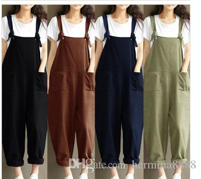HOT Fashion Women Girls Loose Solid Jumpsuit Strap Dungaree Harem Trousers Ladies Overall Pants Casual Playsuits Plus Size S-5XL