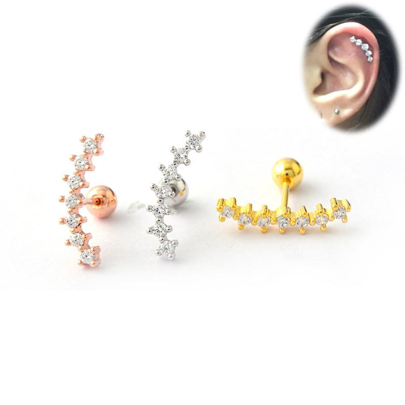 1 Piece Rose Gold Cartilage Earring Tragus Piercing Cartilage Helix Conch Daith Piercing Body Jewelry