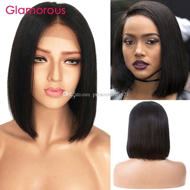 Glamorous Cheap Human Hair Bob Style Lace Front Wig Full