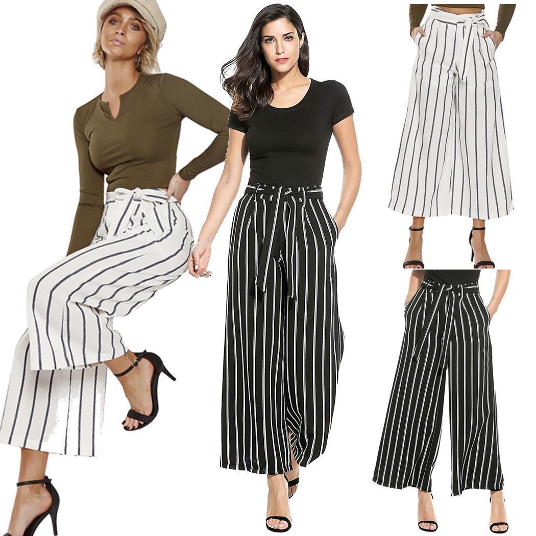 2e38e6b3c054 Pantalones a rayas de moda de mujer Cintura alta pantalones anchos de  pierna ancha
