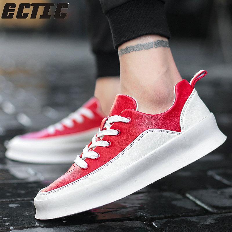 f4119c2f79 Compre ECTIC Hip Hop Rua Moda Masculina Sapatos Casuais Marca Tênis Preto  Branco Masculino Sapatos De Caminhada Antiderrapante Respirável Sapatos DP  167 De ...
