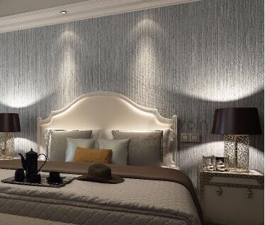 Vertical Texture Metallic Silver Wallpaper Grass Cloth Vinyl Modern Wall Paper Straw Glossy Grass Cloth Wallpaper For Bedroom Wall Paper