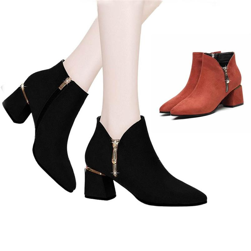 d5d940077 Fashion Autumn Winter 2019 Women Solid Color Winter Warm Snow Boots British  Thick With Bare Boots Rivets Ankle A# Cheap Cowgirl Boots Mens Dress Boots  From ...