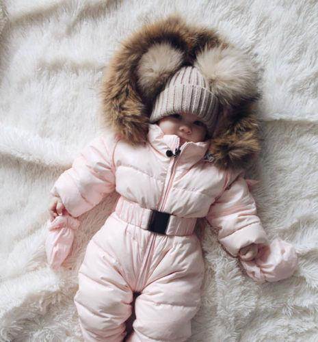 abc1ee216 Newborn Infant Baby Girls Quilted Snowsuit Pramsuit Winter Coat Warm ...