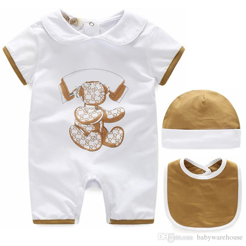 2019 Newborn Baby Clothes Fashion Summer Cotton Unisex Kids Boy Girl Clothes Infant Baby Romper + Hat + Bib 3PCS Sets Baby Jumpsuit Outfits
