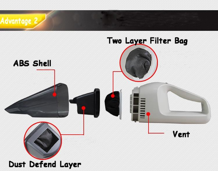 Multifunction Car Vacuum Cleaner Handheld Wet Dry Dual-use Super Suction Include Static Brush Water Absorpt Flat Nozzle 15L/mbar