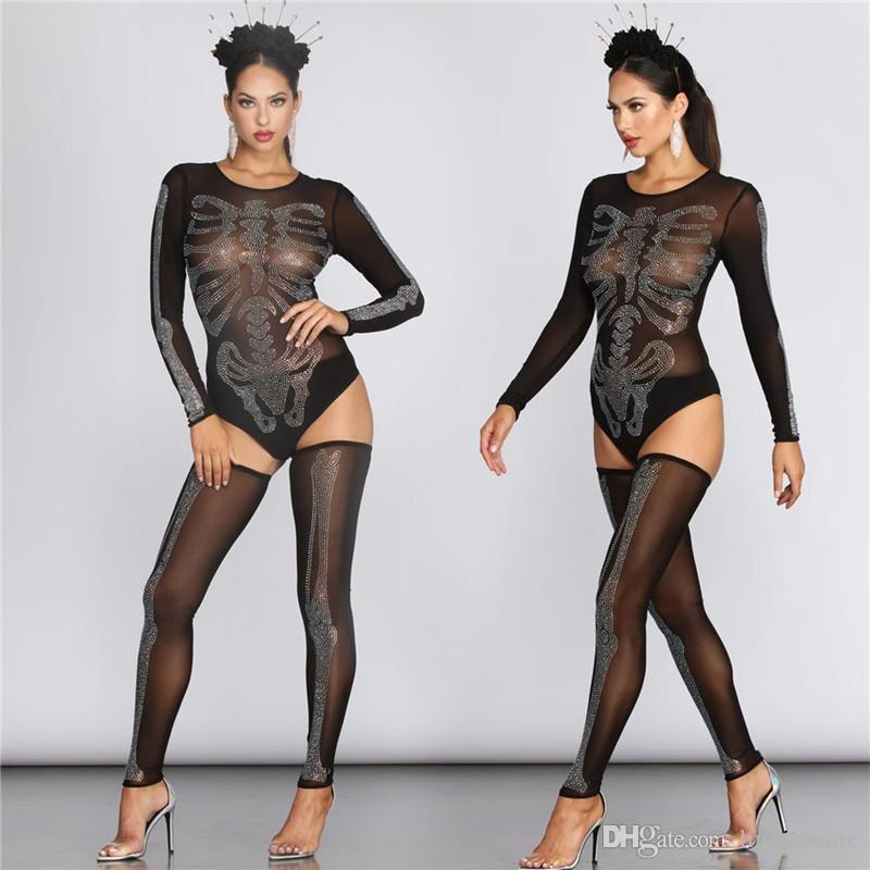 Femmes Halloween Designer strass Tenues Femmes Sexy See Through barboteuses mode Ladies Night Club Cosplay Costume