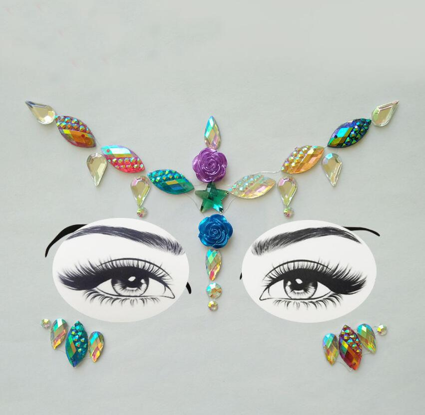 Adhesive Face Gems Rhinestone Temporary Tattoo Jewels Festival Party Body  Glitter Stickers Flash Temporary Tattoos Sticke Paper For Temporary Tattoos  ... 28e0a0e28c17