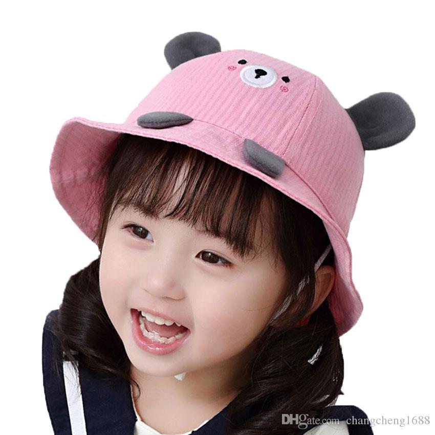 2019 Baby Child Bucket Hat Outdoor Fisherman Hats For 2019 Spring Summer  Kids Cartoon Bear Ear Cap Boys Girls Beach Hat Caps Chapeu MZ7267 From ... 9b601cc438e