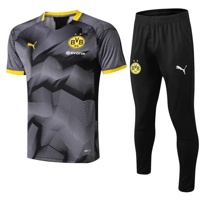 buy online b80d9 db442 2019 20 Borussia Dortmund tracksuit Set Men Kit short sleeve Training suit  pants football Borussia Aubameyang Reus clothes sports wea