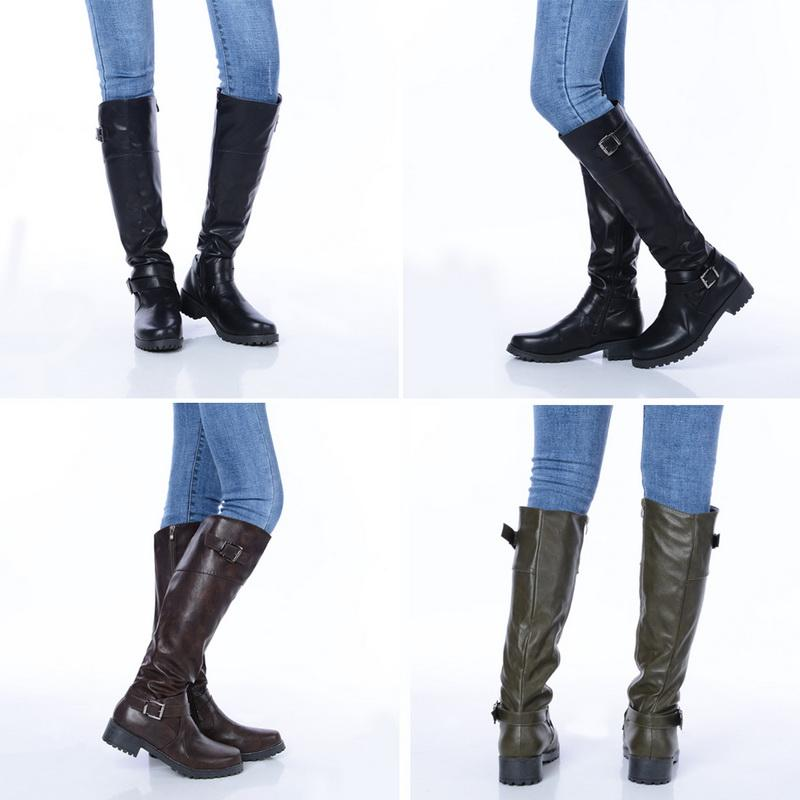 3ab124c9dcd SHUJIN Women Side Zipper Fashion Boots Platform Knee High Boot Thick Square Heels  Female Pu Leather Medium Boots With Button Cowboy Boots Chelsea Boots From  ...