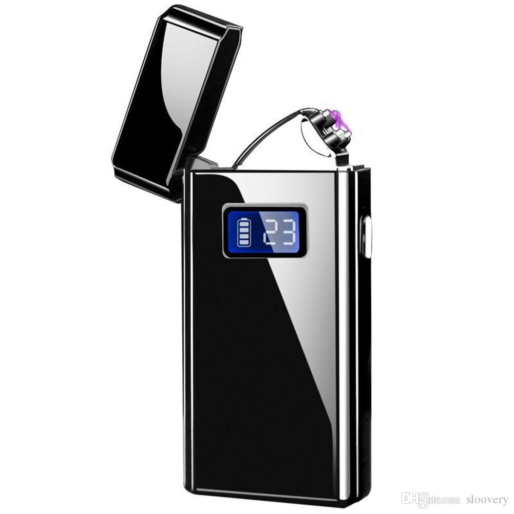 Dual Arc Rechargeable USB Electric Pulse Plasma Lighter  New LED Display  Gift