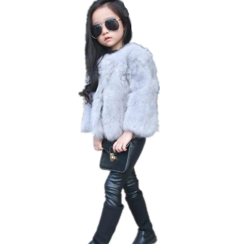 a87f36b3a Kids Baby Girls 2019 Autumn Winter Faux Rabbit Fur Coat Jacket Thick ...