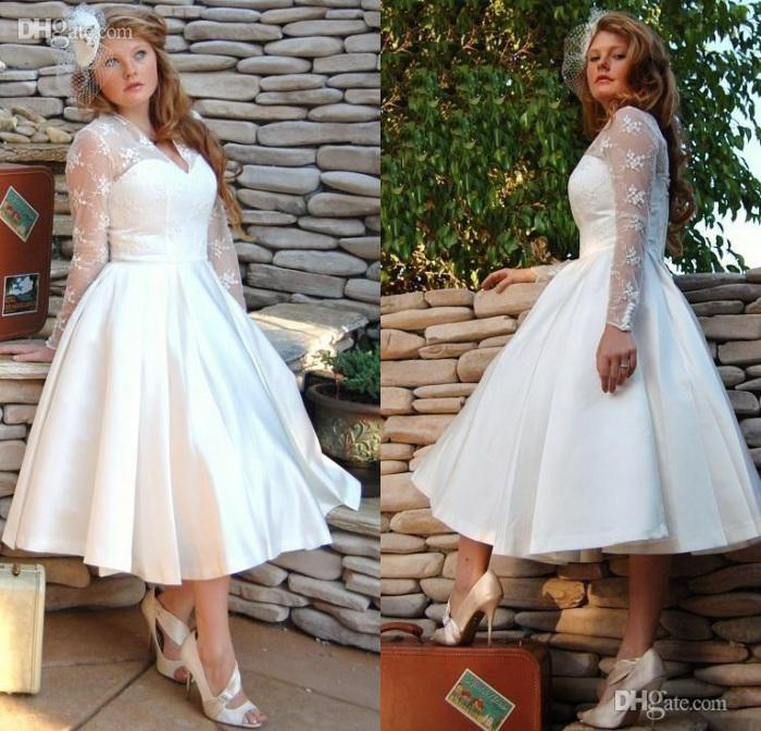 d386451733 Plus Size Sheer Garden V Neck Wedding Dresses With Long Sleeves 2019 Tulle  Stain Ball Gowns Lace Appliques Short Tea Length Bridal Dress