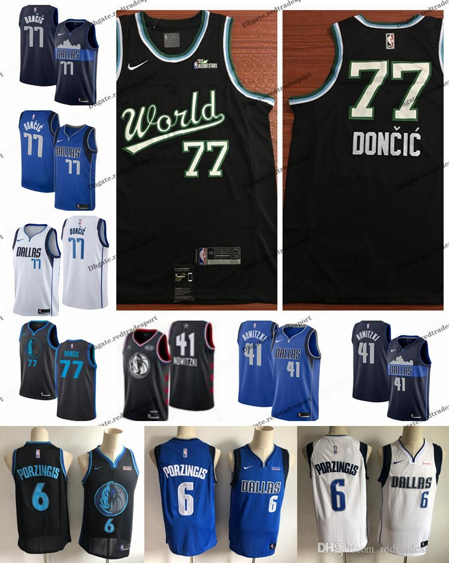 9457b581b 2019 2019 Earned  77 Dallas Dirk Nowitzki Luka Doncic Mavericks Edition  Basketball Jerseys Kristaps Porzingis 6 City World All Stars Shirts S XXL  From ...