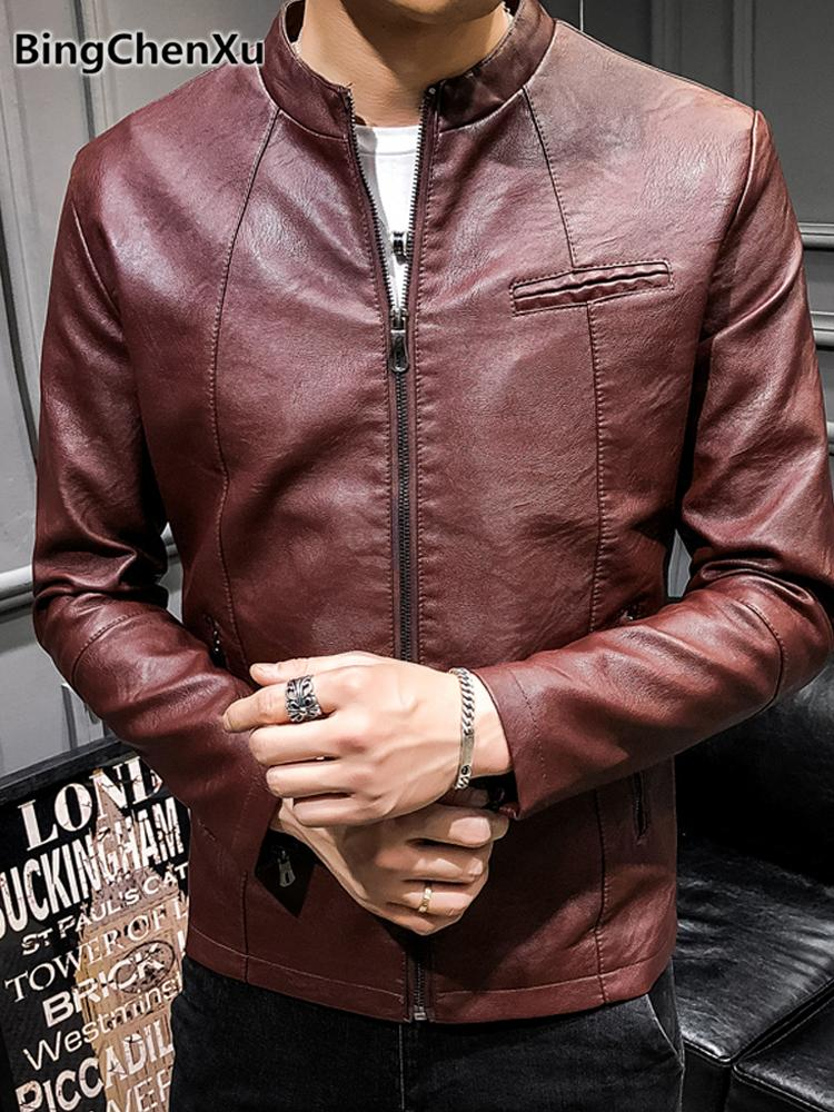 86868f3cf4923 2019 Classic Leather Jacket Men Stylish Red Motorcycle Jackets 2018 New  Arrival Slim Leather Coat Stand Collar Solid PU Jacket 1185 From Piaocloth