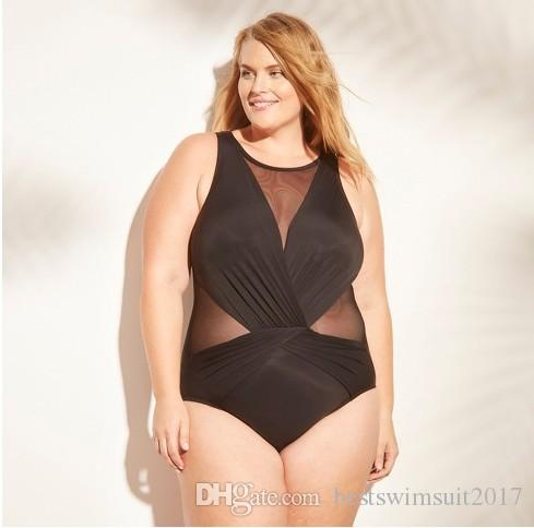 82544899913 2019 Plus Size Bikinis Swimwear For Women Beachwear 2019 Summer Mesh  Monokini Bodysuits One Piece Swim Wear Bathing Suit Sexy Lady Swimsuit  Black From ...