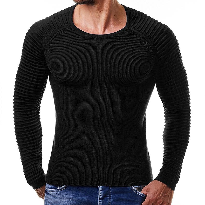 09f1815ba33e2d 2019 Men Flexible Solid Sweater Casual O Neck Knitting Pullover Fashion  Ribbed Striped Sleeve Sweaters Men'S Tops Outwear Coat From Buttonline, ...