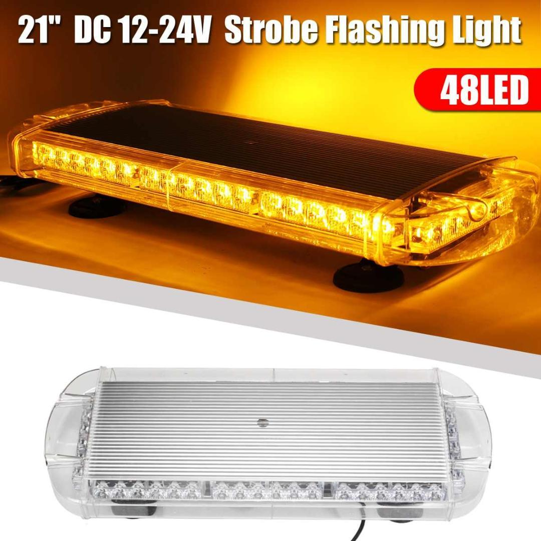 "Audew 12V-24V Universal 21"" 48LED Car Warning Emergency Flashing Strobe Light Bar Amber Beacon Car Light Assembly"