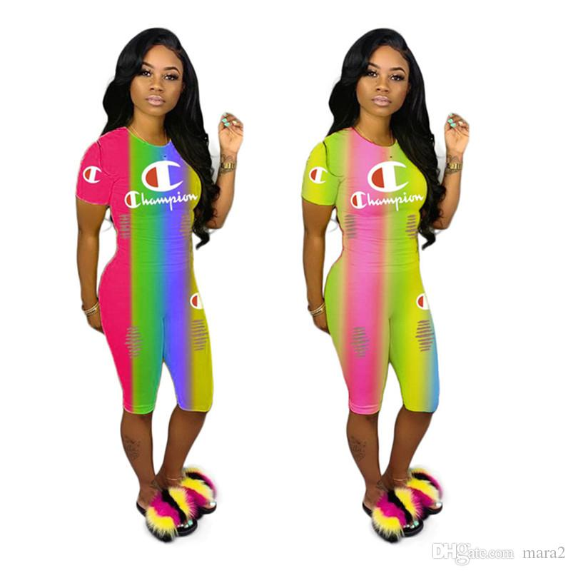 Champions women 2 piece set rainbow ripped gradient print letter crew neck t-shirt short sleeve bodycon leggings shorts summer clothing 589