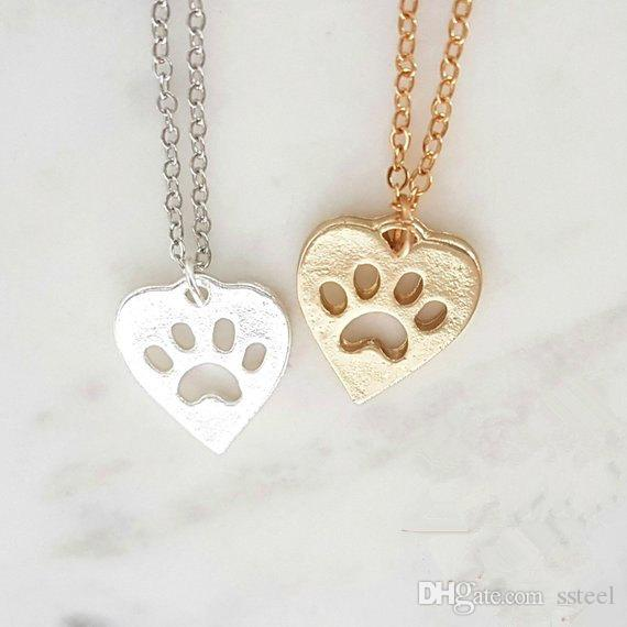 hollow Paw Print Heart pendant Necklace Pet Puppy Dog Paw Necklace Bear Cat Love Paw Necklaces Decoupage Animal Print Necklaces