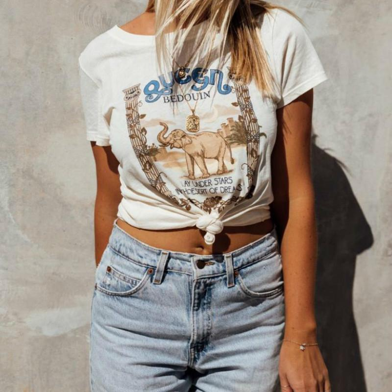 ad0991a47f42c 2018 Fashion New Summer Women Casual Loose Elephant Print Tops Tee Short  Sleeve Crew Neck Floral T Shirt Ladies R Shirt Political Tee Shirts From  Fafachai09 ...